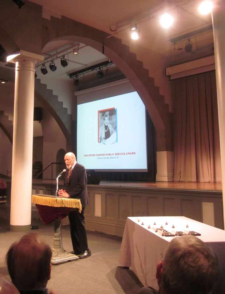 Milton Glaser presenting the Peter Cooper Service Award