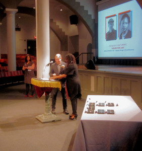 Julian Lavierde receiving award