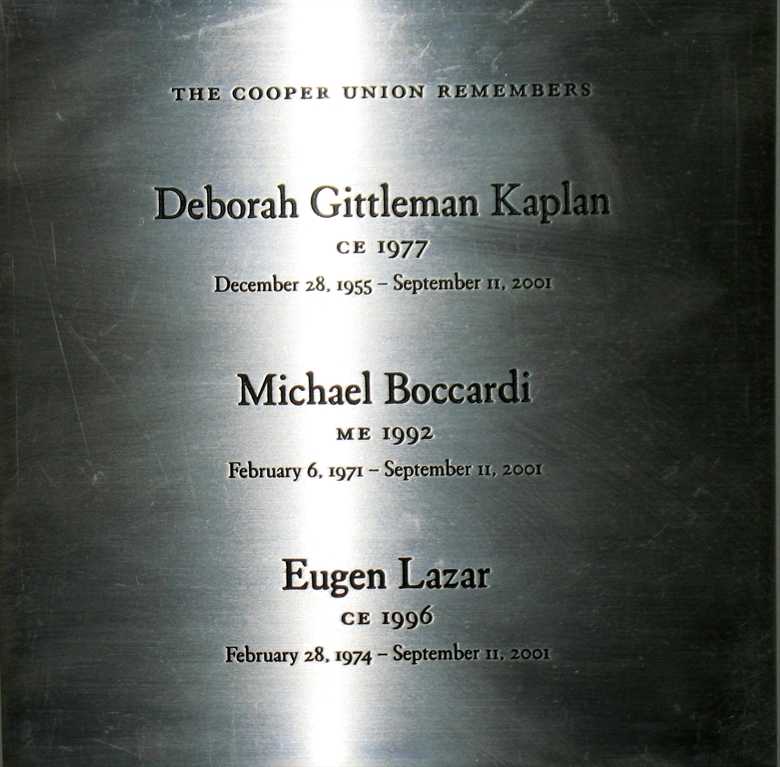 9-11 Alumni Names plaque