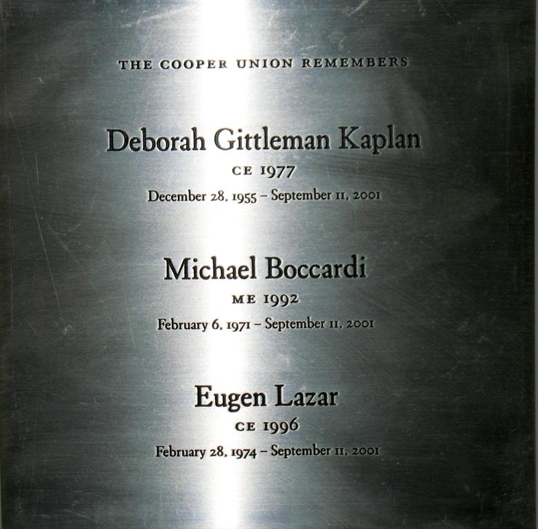 9-11 Alumni Names plaque