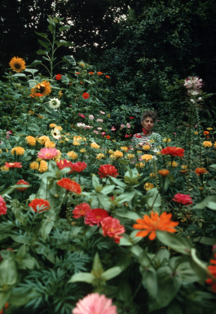 Shirley Geller in flower garden -- Andrew Geller Architectural Archive/Jake and Tracey Gorst Collection